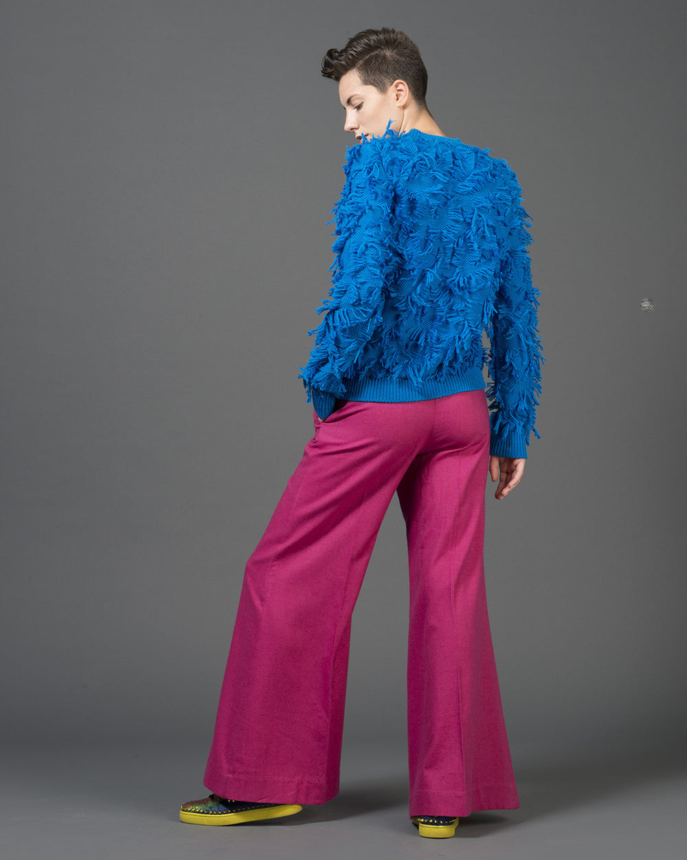 Fuchsia Oversized Flared Pants