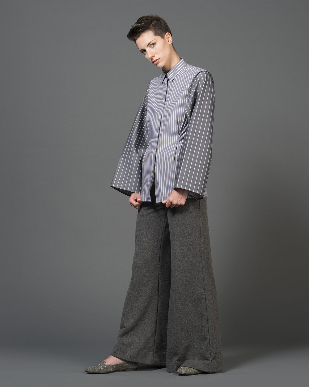 Grey Pinstripe Wide Sleeve Shirt