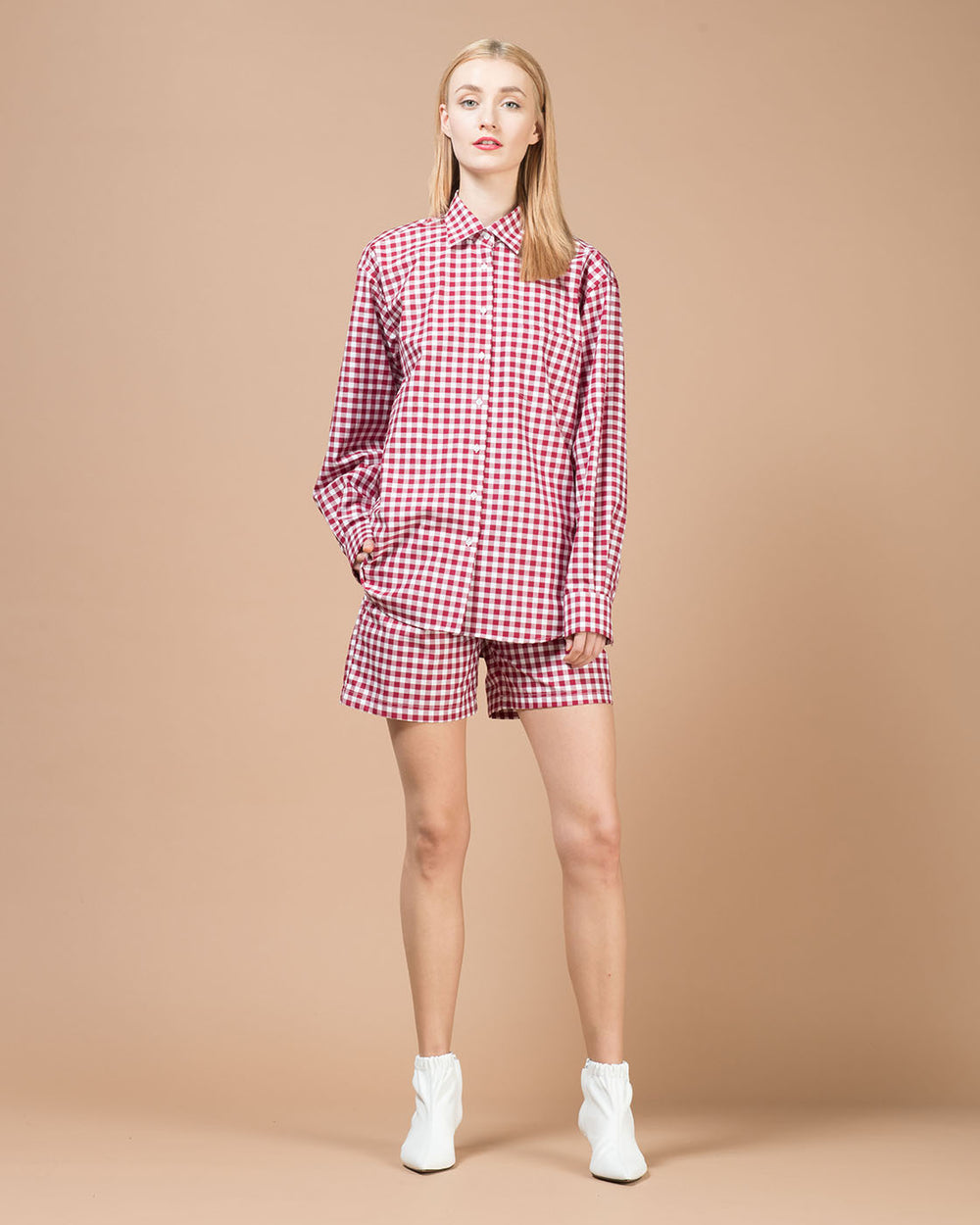 Red & White Checked Oversized Shirt