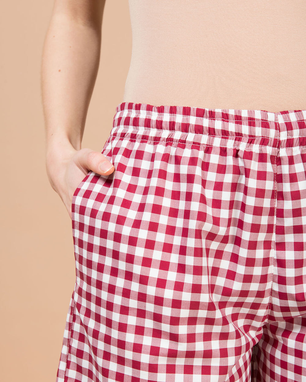 Red & White Checked Wide Leg Shorts