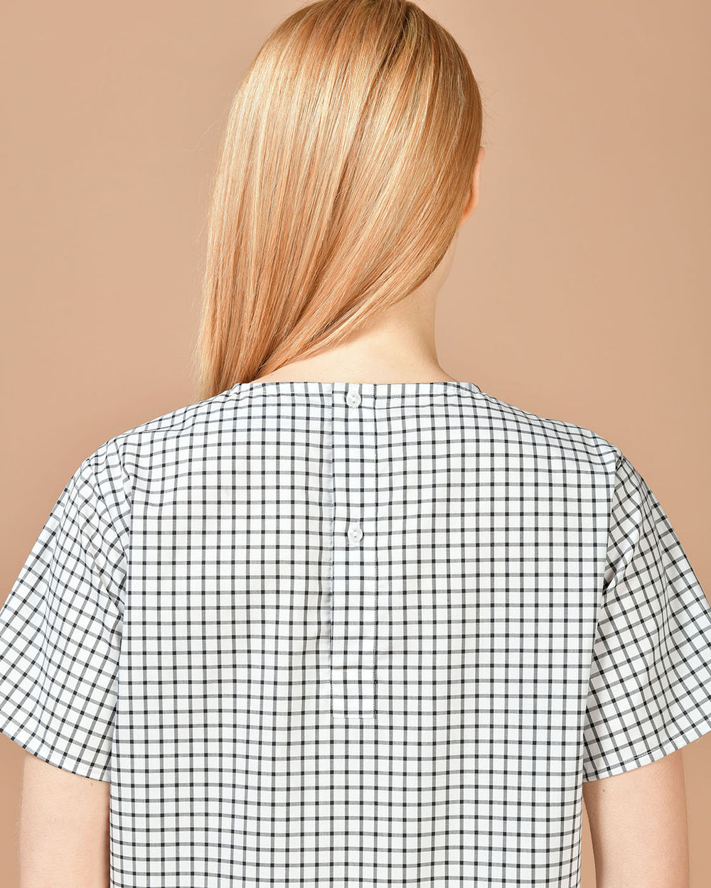 White & Black Checked Blouse