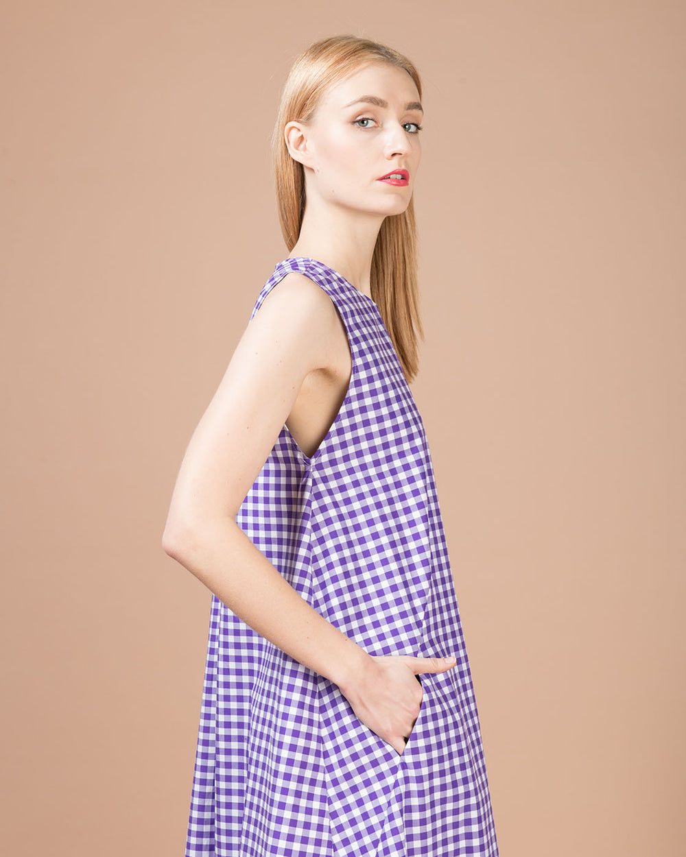 White & Purple Checked Long Dress