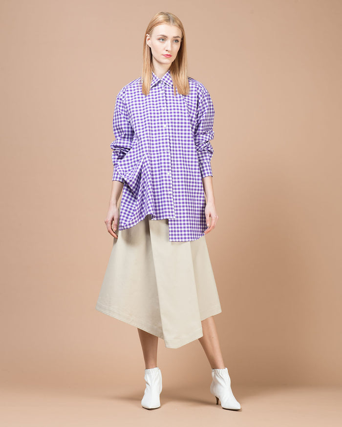 White & Purple Checked Oversized Shirt