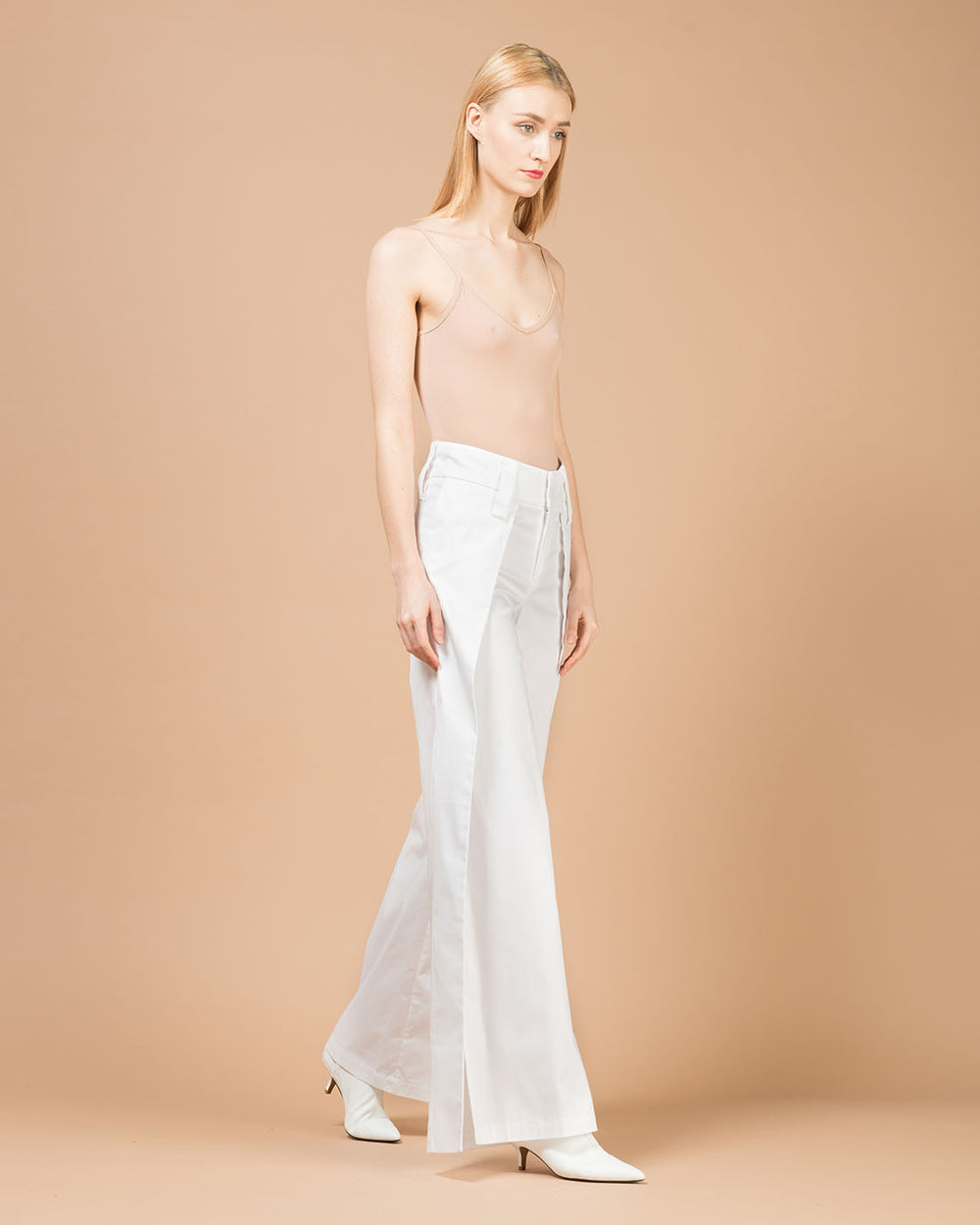 White Wide Slit Pants