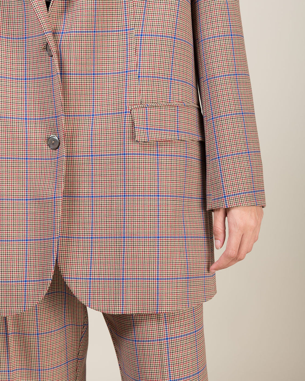 Beige and Blue Checked Oversized Jacket