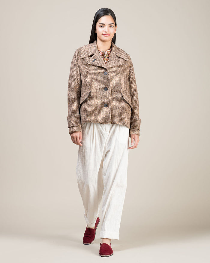 Beige and Brown Wool Tweed Effect Jacket