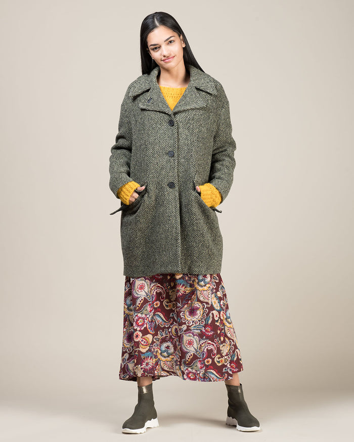 Black and Green Wool Tweed Coat