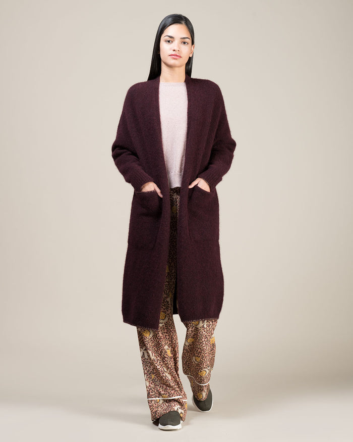 Bordeaux Long Knit Cardigan