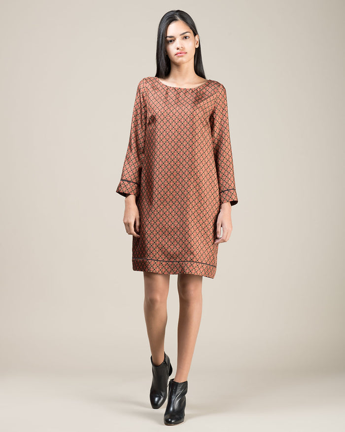 Brown Micro Patterned Short Dress