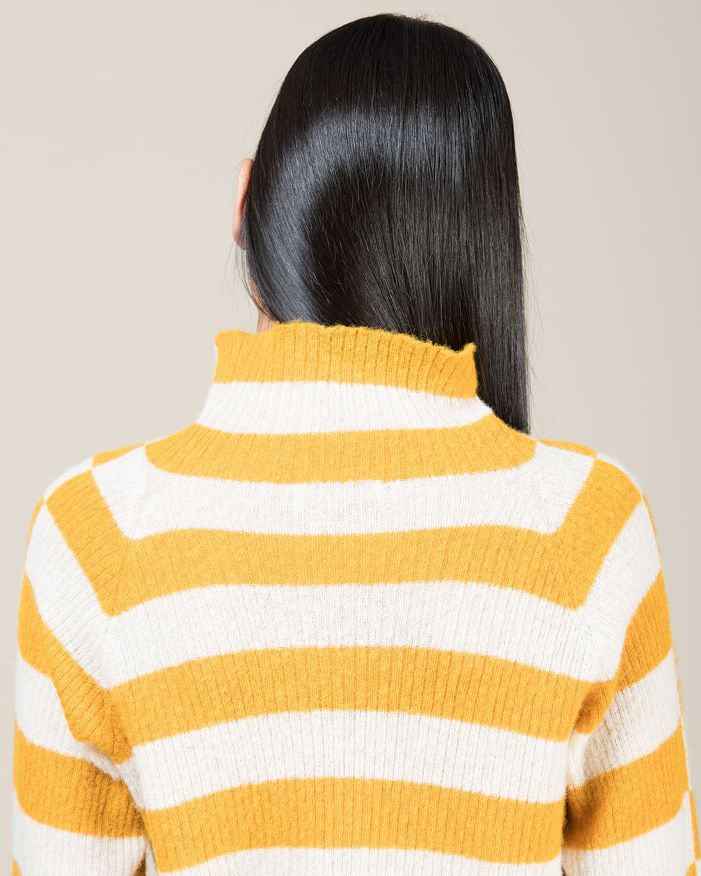 Cream and Yellow Striped Cowl Neck Top