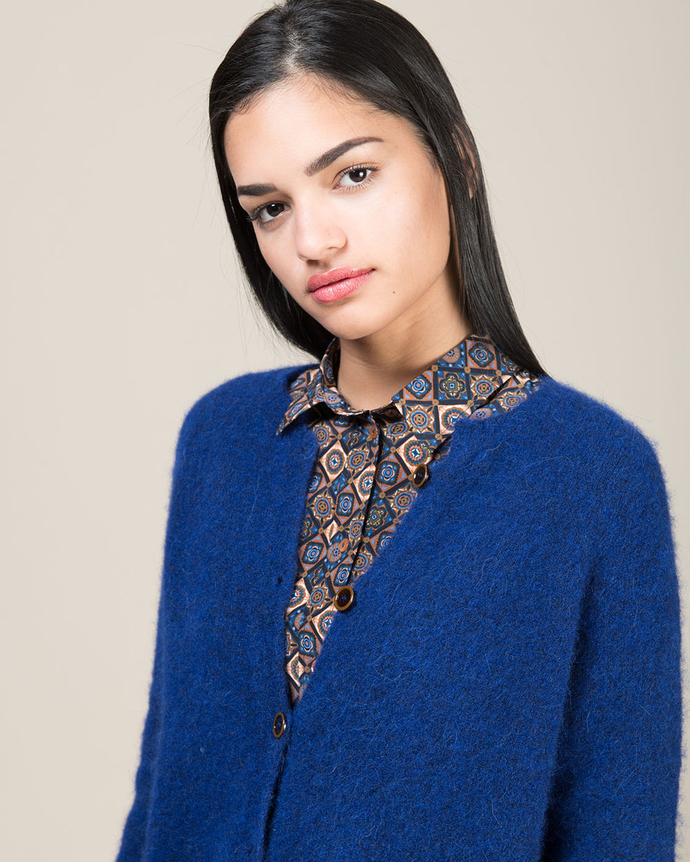 Electric Blue Faux Felt Effect Cardigan