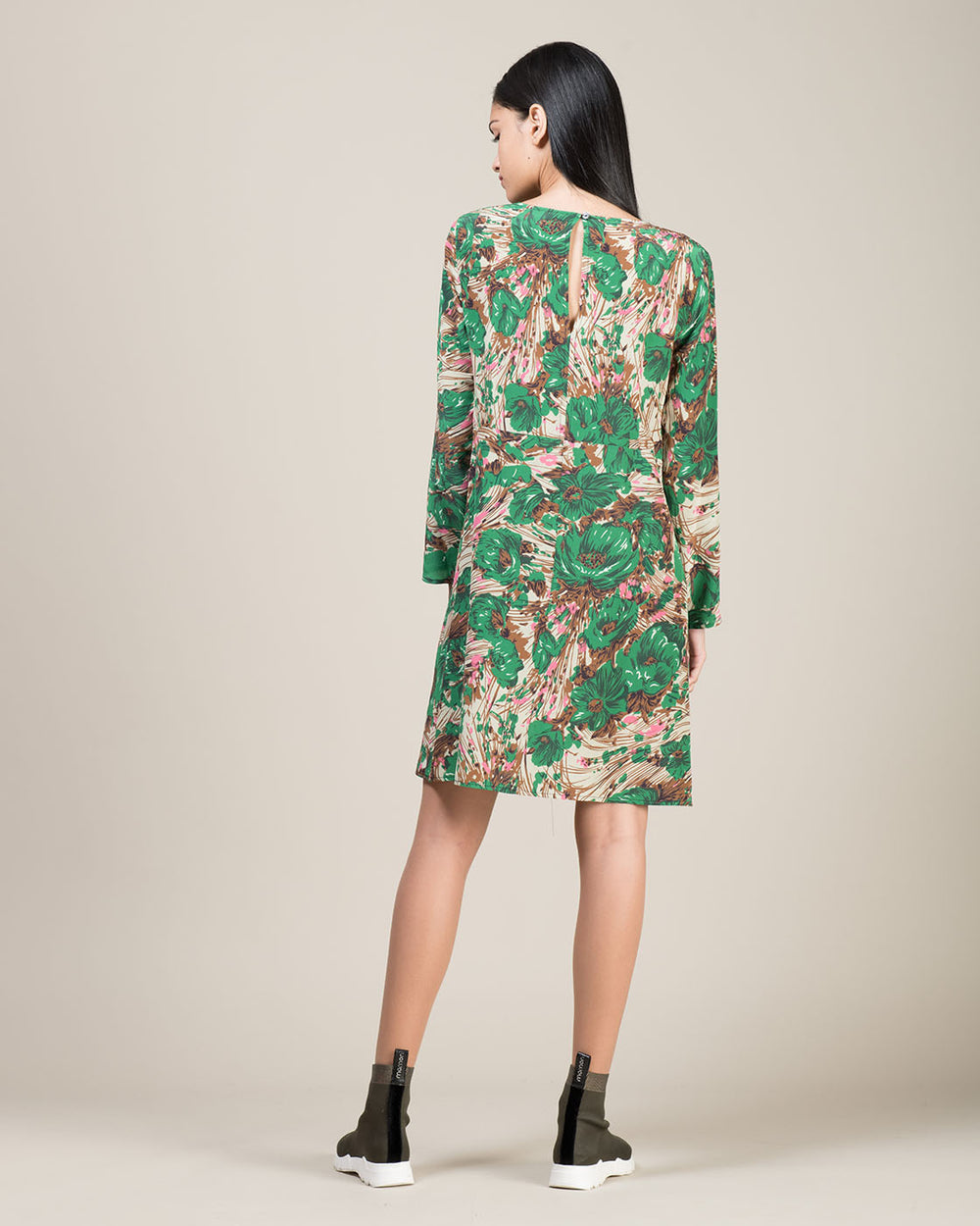 Green Floral Print Silk Dress