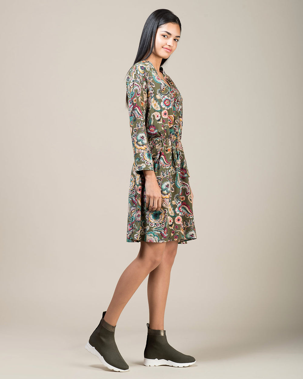 Green Silk Dress with Cashmere Motifs