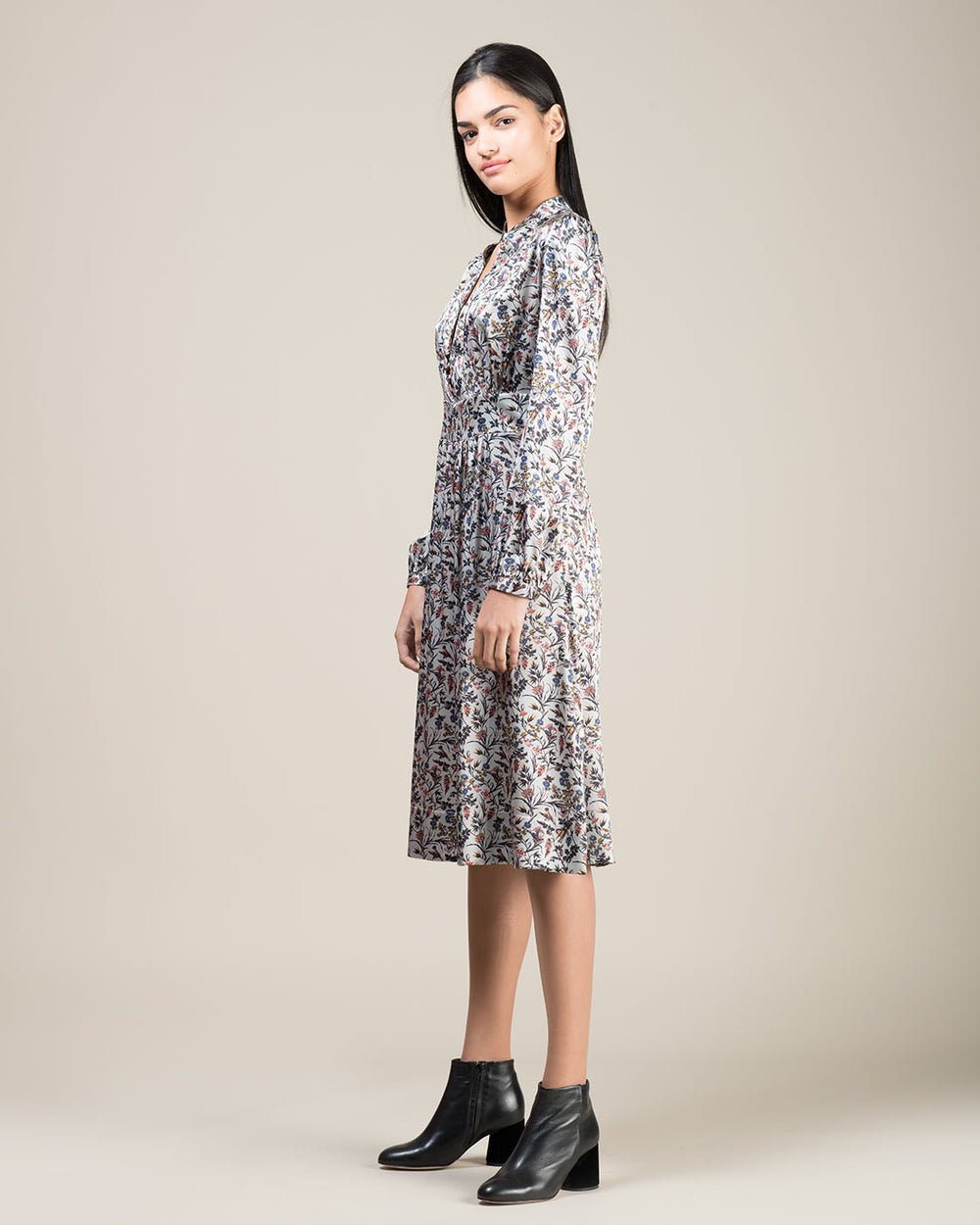 Grey Silk Dress with Micro Flower Pattern