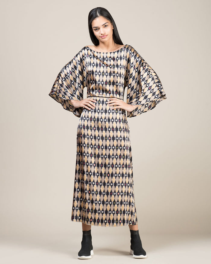 Ikat Printed Silk Long Dress