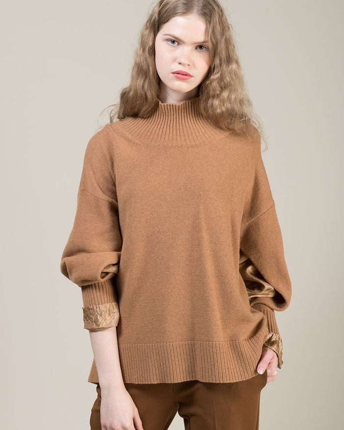 Beige High Funnel Neck Sweater with Fabric Slit Inserts