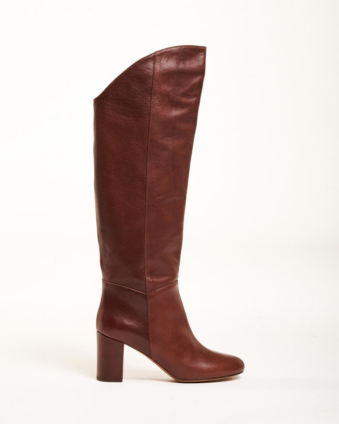 Brown Leather High Heeled Boots