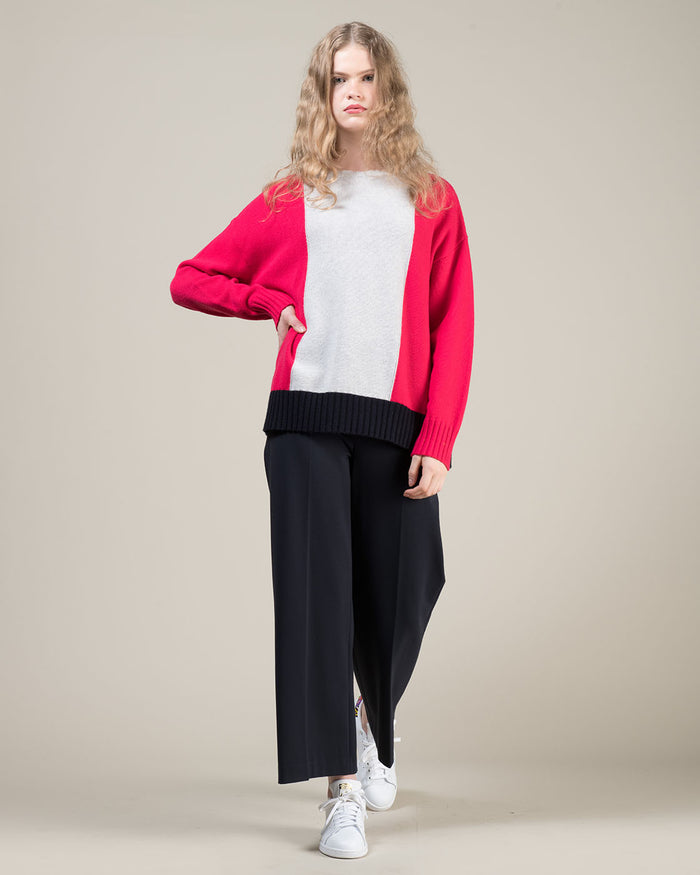 Crewneck Colorblock Sweater in Fuchsia, Blue and Grey