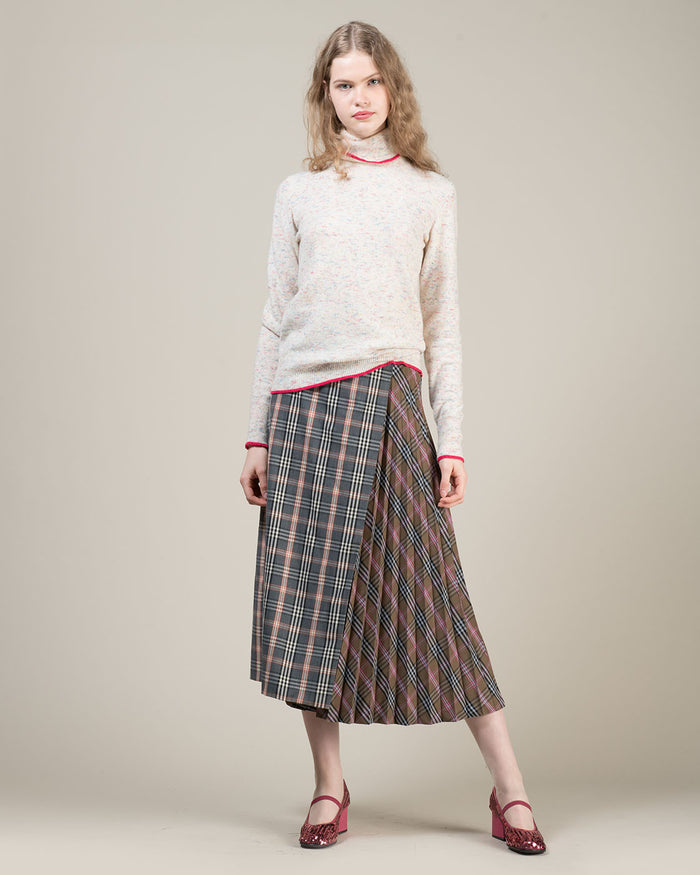 Grey Pleated Checked Skirt
