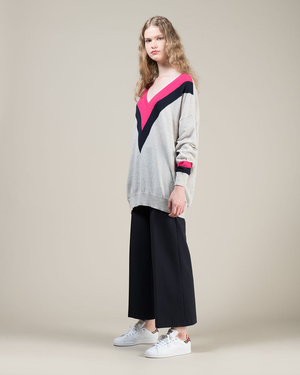 Grey Sweater with Blue Inlay and Fuchsia Contrast