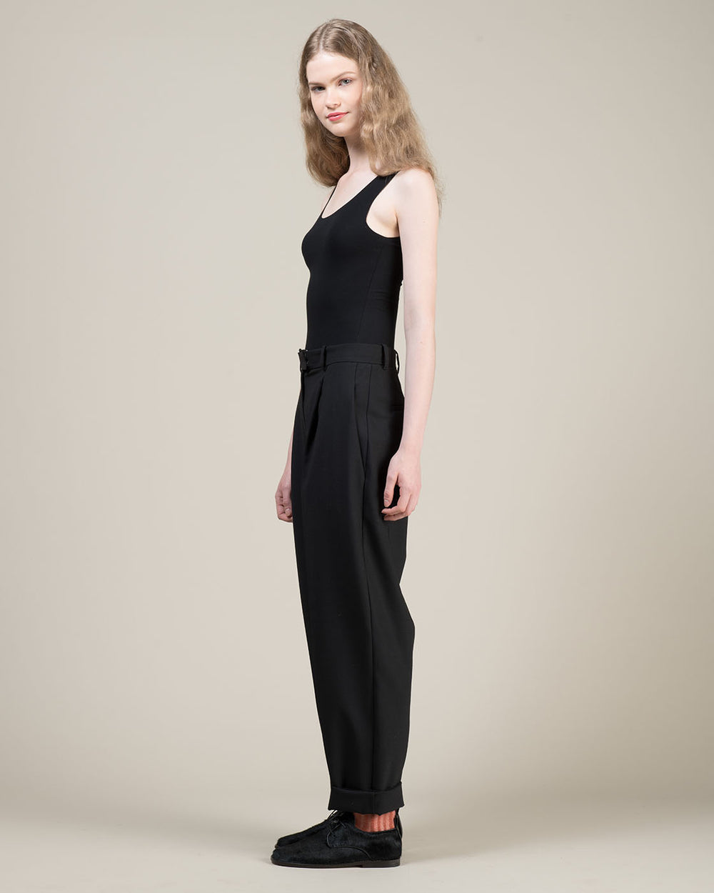 High Waist Black Pleated Pants