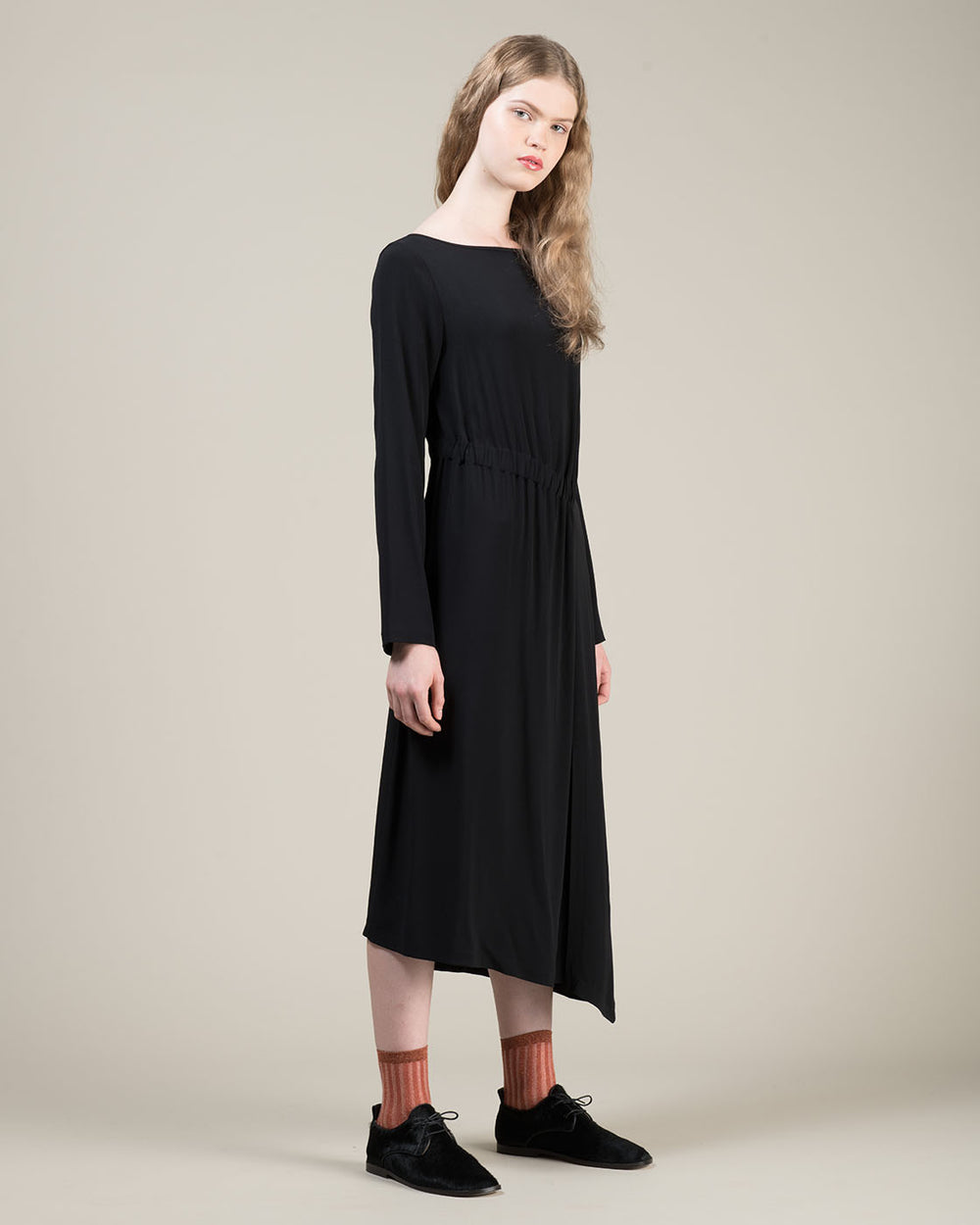 Long Black Draping Dress