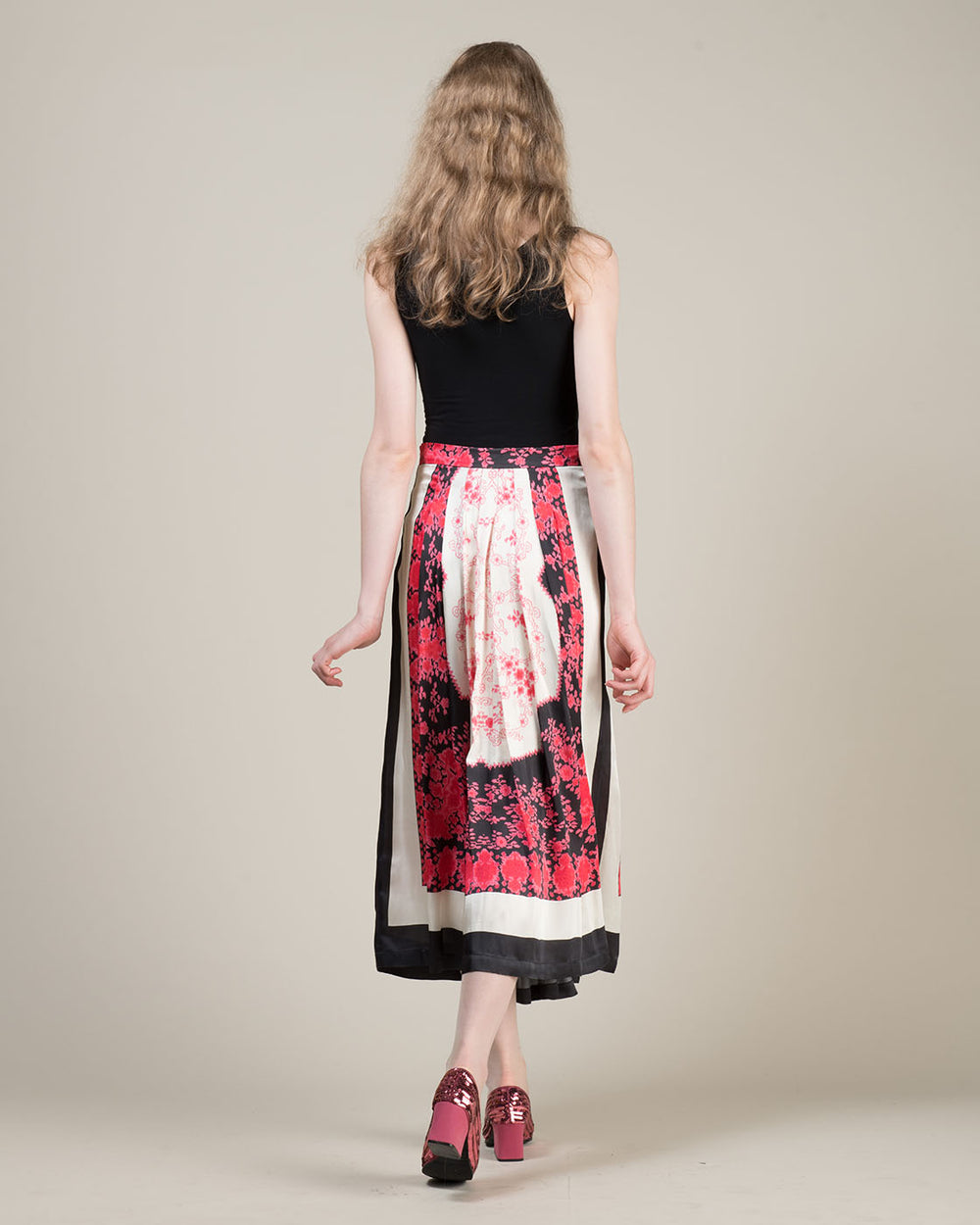 Long Fuchsia Skirt with Flower Pattern