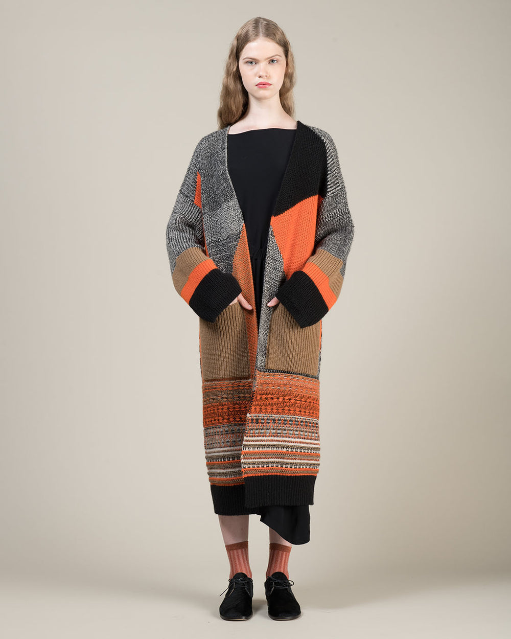 Long Multicolor Jacquard Cardigan