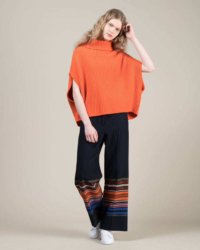 Loose Fit Blue Pants with Coloured Stripes at Hem