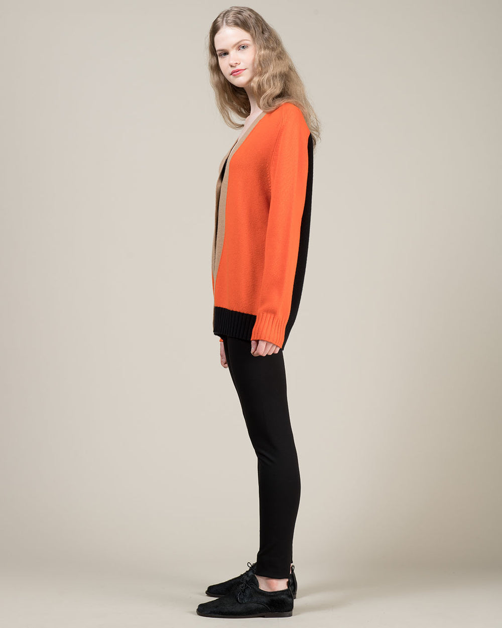 Orange Black and Beige Color Block Cardigan