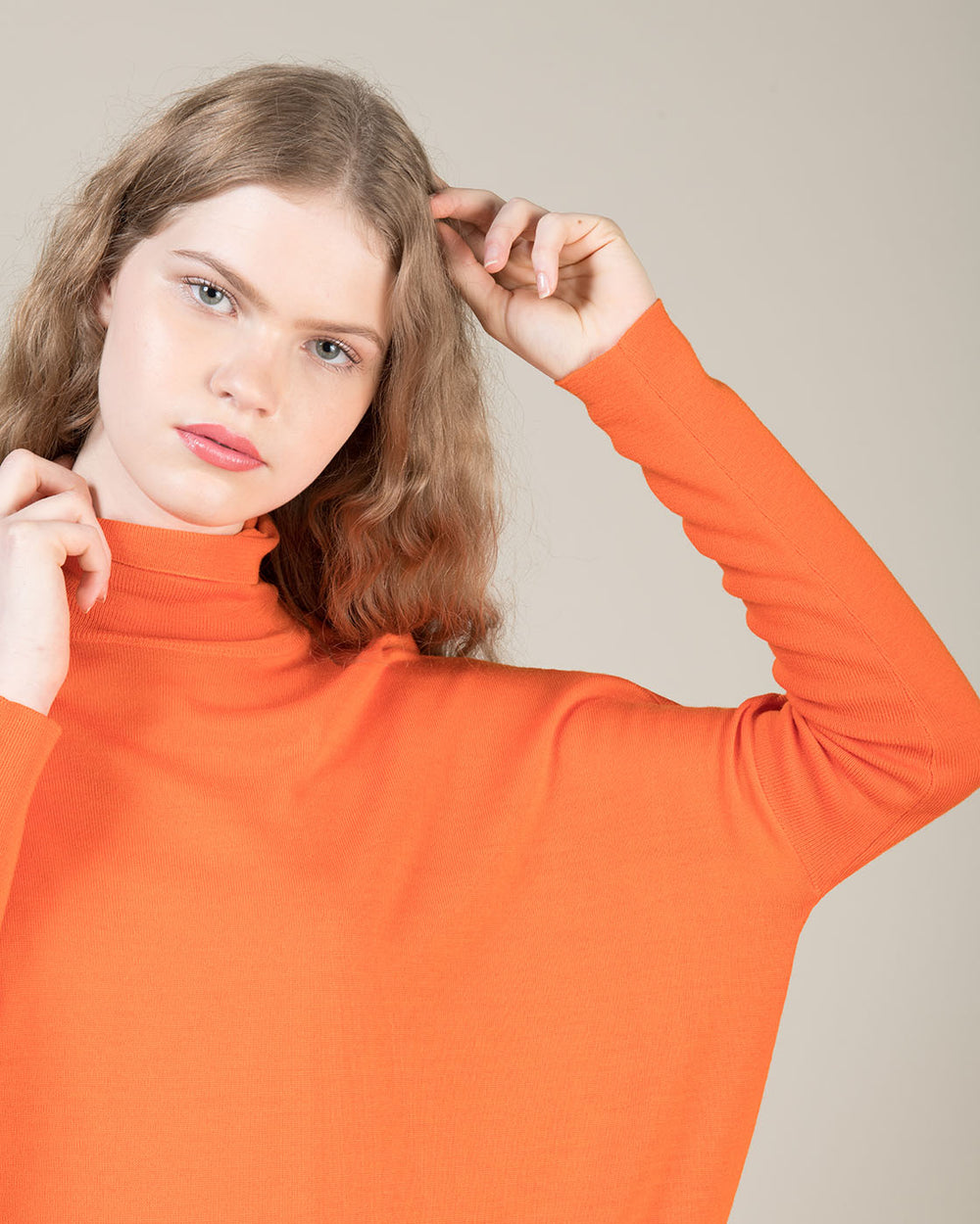 Orange High Collar Oversized Sweater