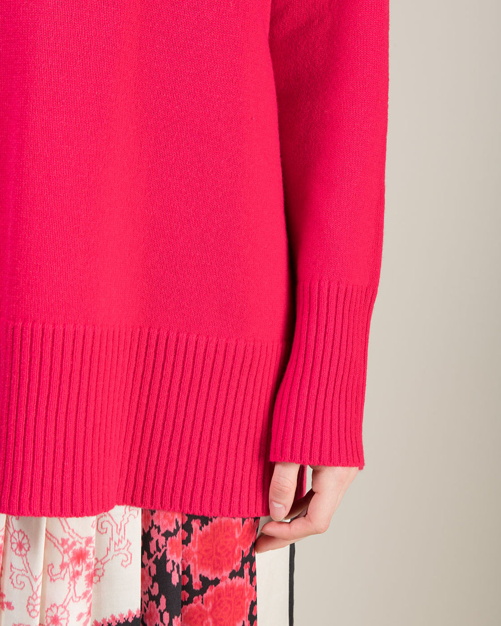Oversized Fuchsia Crewneck Sweater
