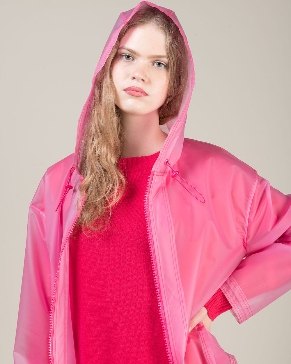 Short Fuchsia Waterproof Parka