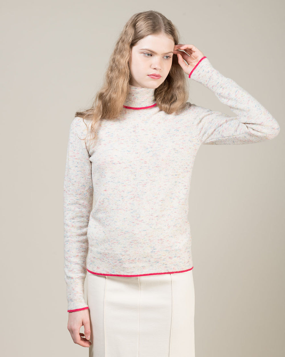 White Melange Turtleneck Sweater with Contrast Edging