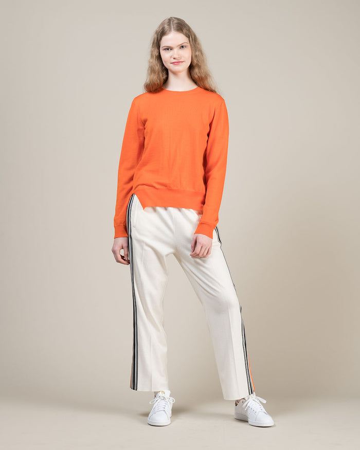White Pants with Contrast Side Stripes