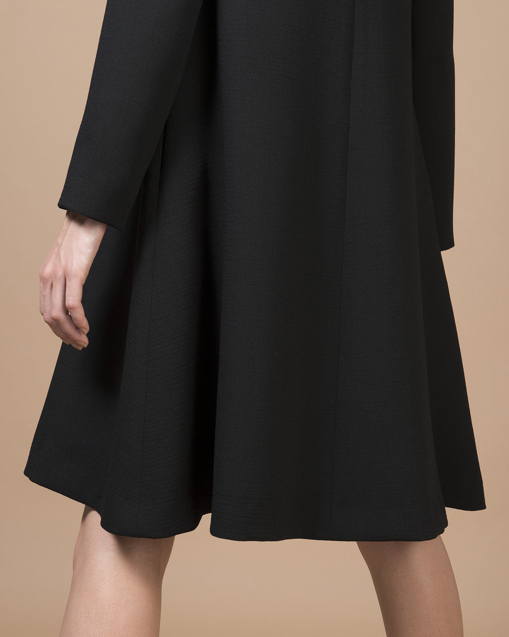 Black Collarless Flare Coat