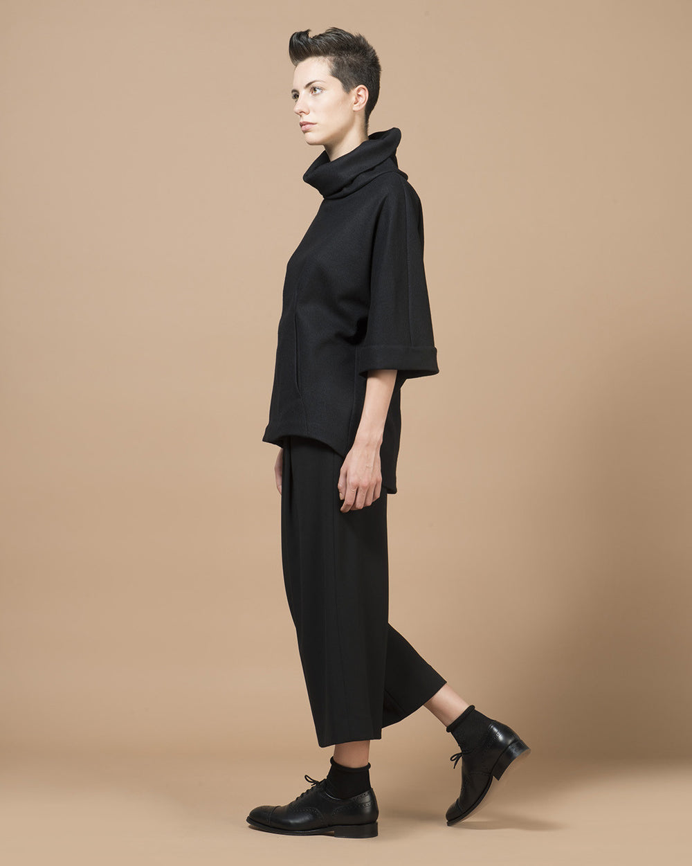 Black Heavy Jersey Sleeve Cape