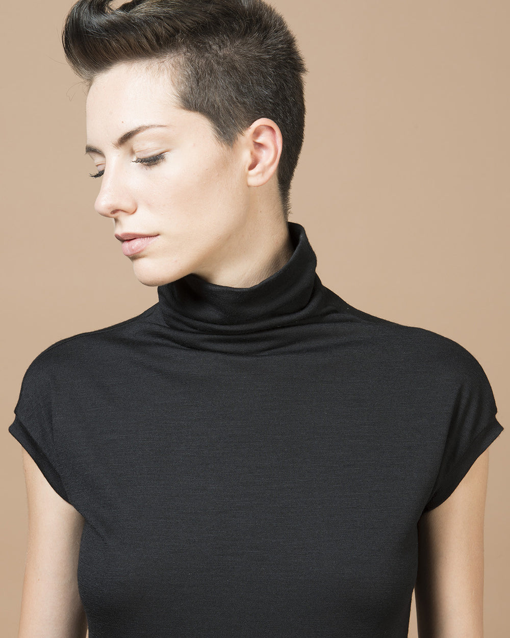 Black Short Sleeve Turtleneck