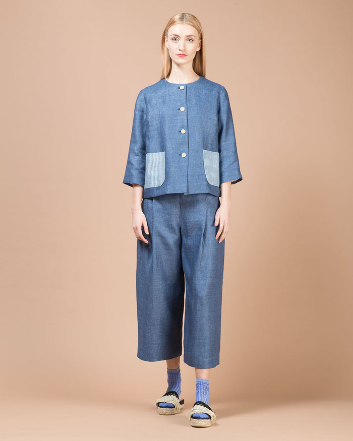 Blue Linen Short Jacket