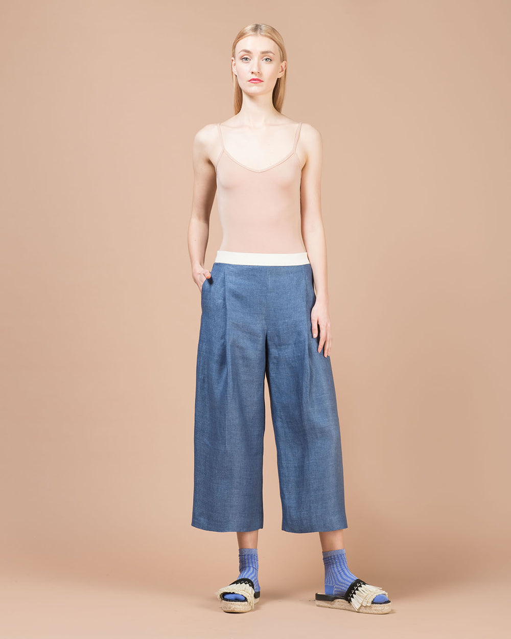 Blue Linen Wide Pants