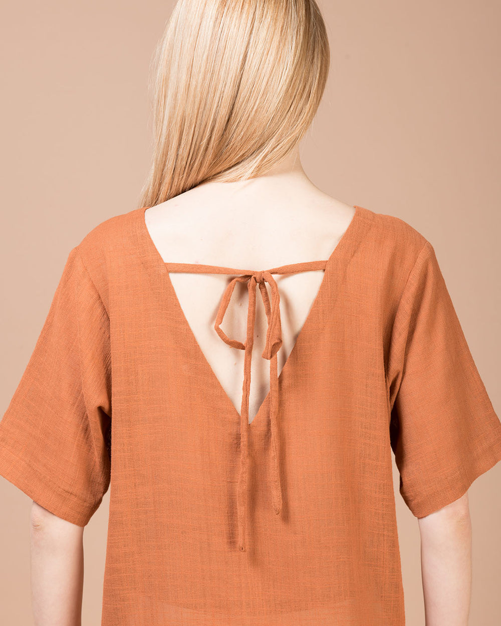 Brown Linen Long Blouse