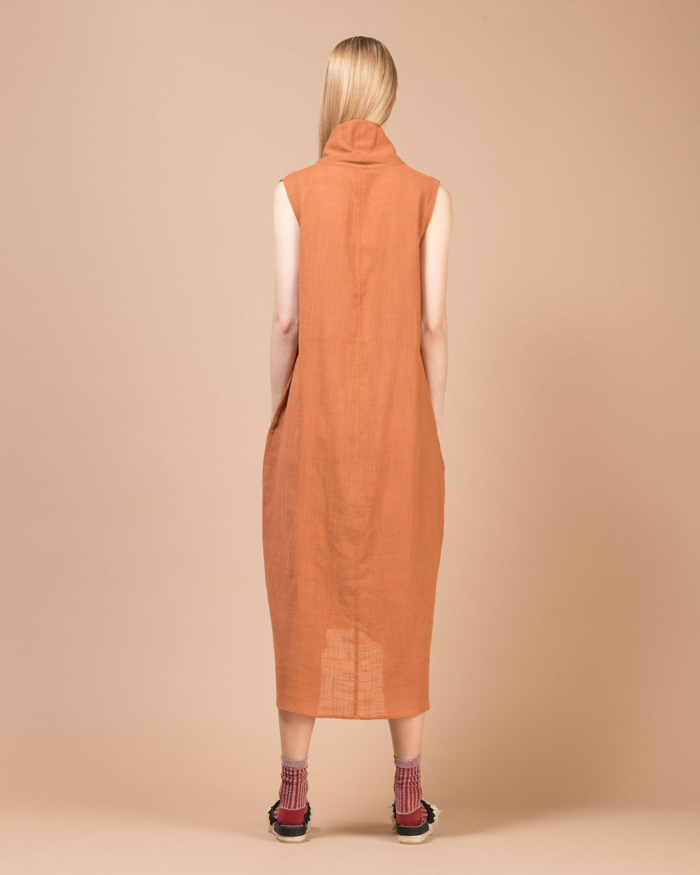 Brown Linen Wide Long Dress