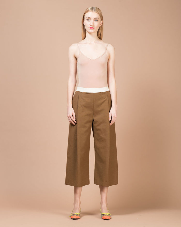 Brown Linen Wide Pants