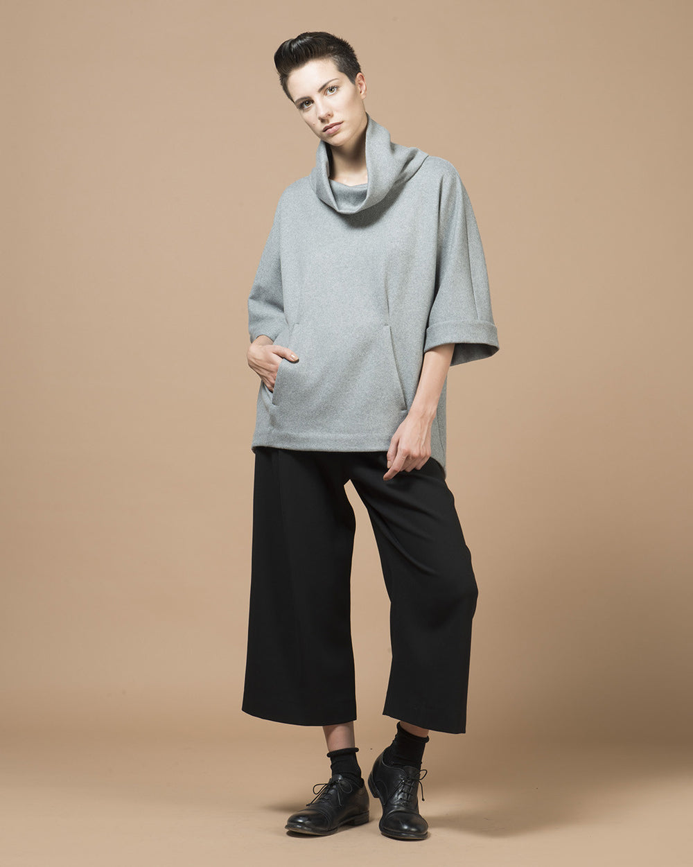 Grey Cashmere Sleeve Cape