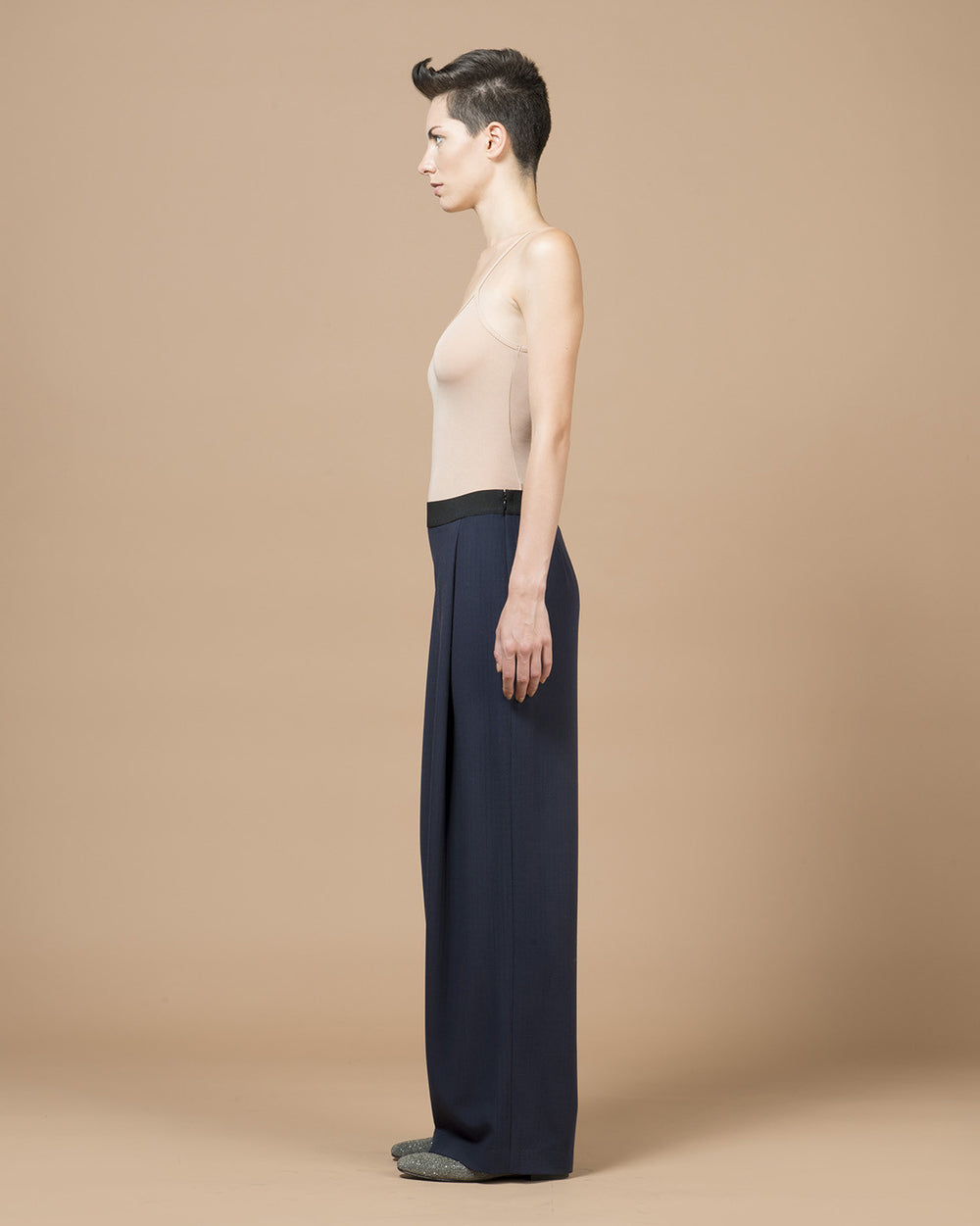 Navy Blue Wide Pleat Pants