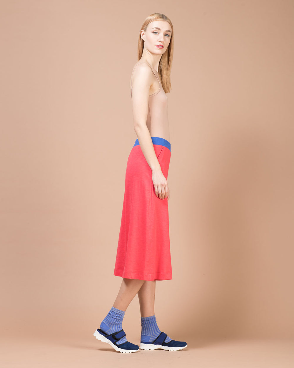 Red Linen Cropped Wide Pants
