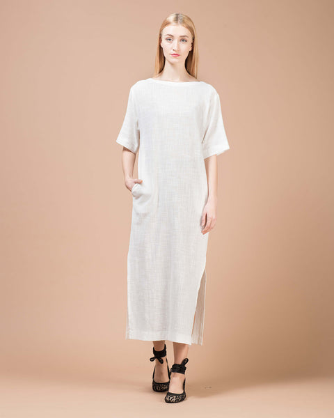 Women S White Linen Long Dress By Juno Styloose