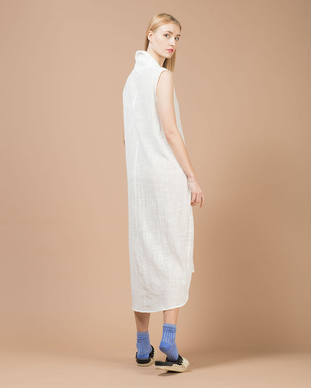 White Linen Wide Long Dress