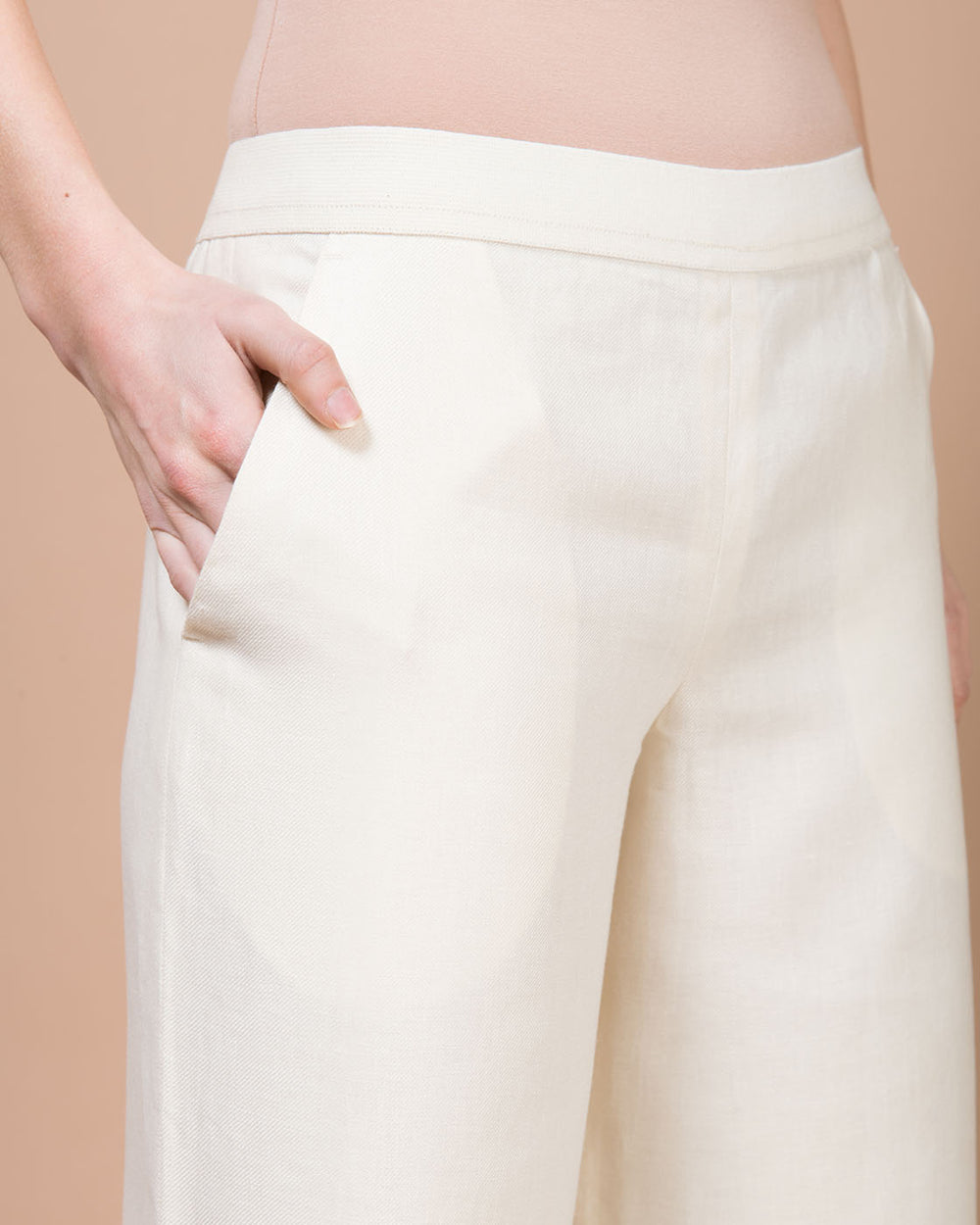 White Wide Cropped Pants