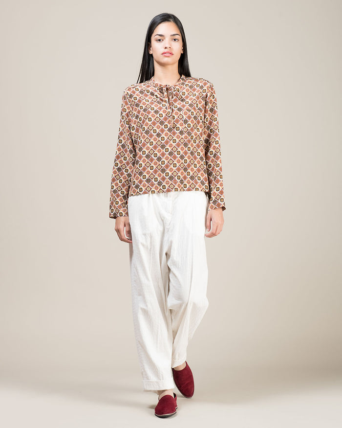 Long Sleeved Blouse in Printed Silk